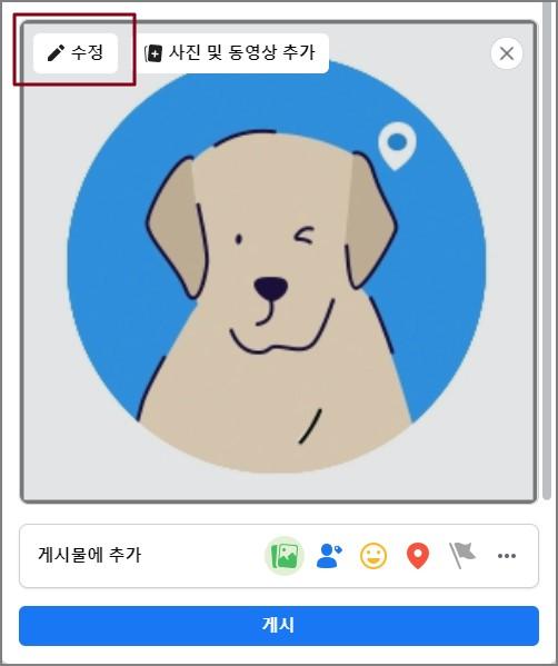 강아지 사진이 업로드돼 있는 게시글 편집창 위 수정 버튼이 강조된 이미지